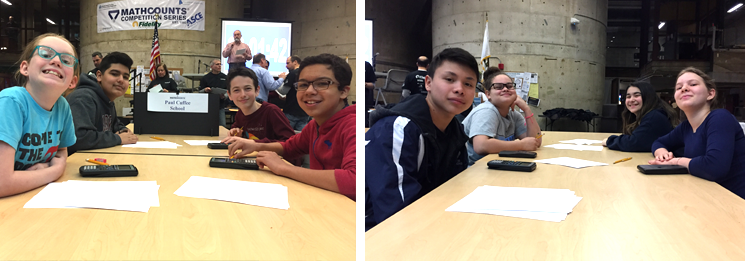 Team Cuffee Zoe C., Joseph M., Luke T. and Adan B. join with Daniel Q., Madel C., Milly A. and Roma T. at the state MATHCOUNTS competition.